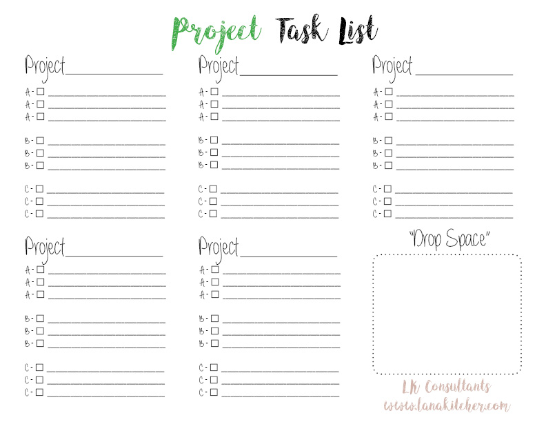 Project Task List - Click to download