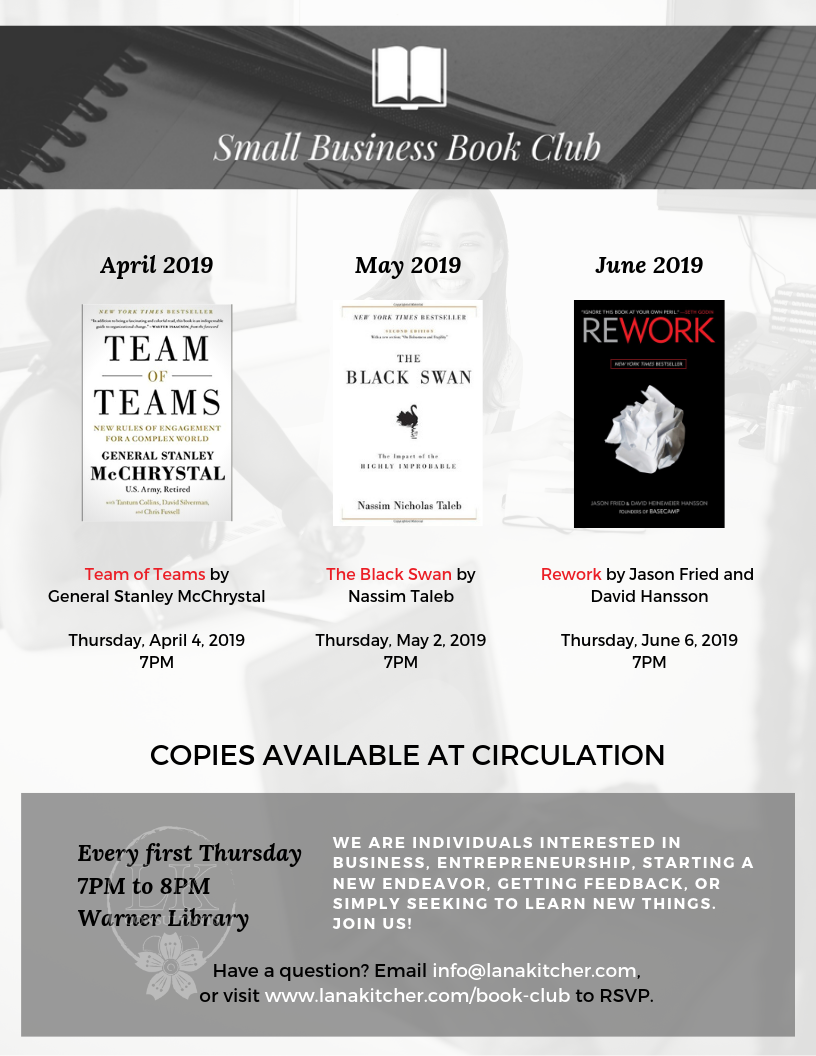 A flyer highlighting the pending book club discussions for the second quarter of 2019