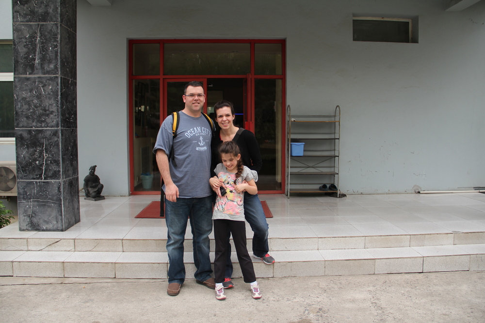 Outside the orphanage