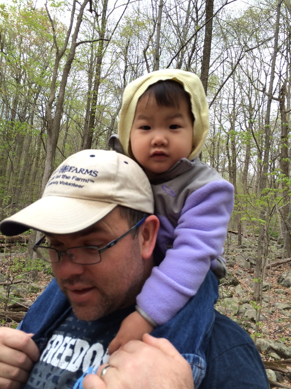 Finally got her up on daddy's shoulders for a hike through the woods.  She was so scared the first 5 times we've tried this!!  Yea, another success!
