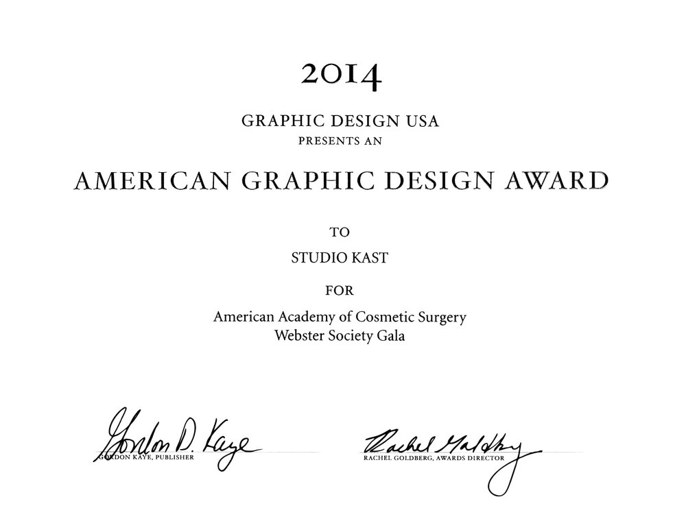 2014 AMERICAN GRAHIC DESIGN AWARD | AACS WEBSTER SOCIETY GALA