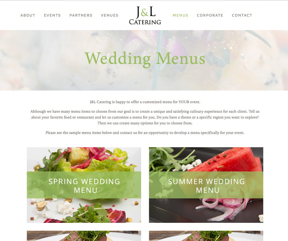 Wedding Menus Page