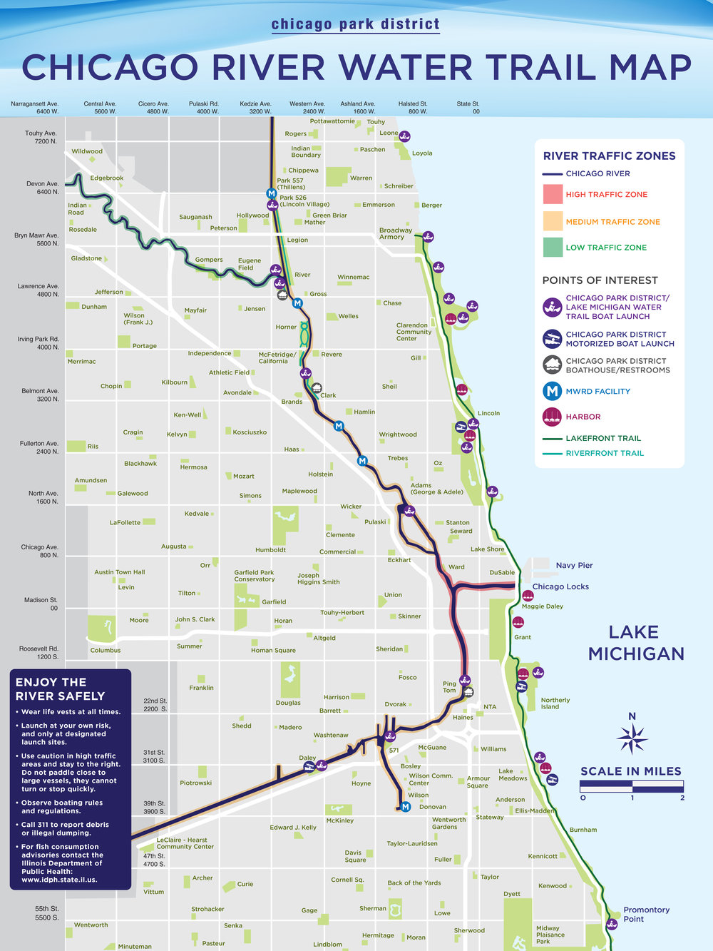 Chicago Park District River Water Trail Map