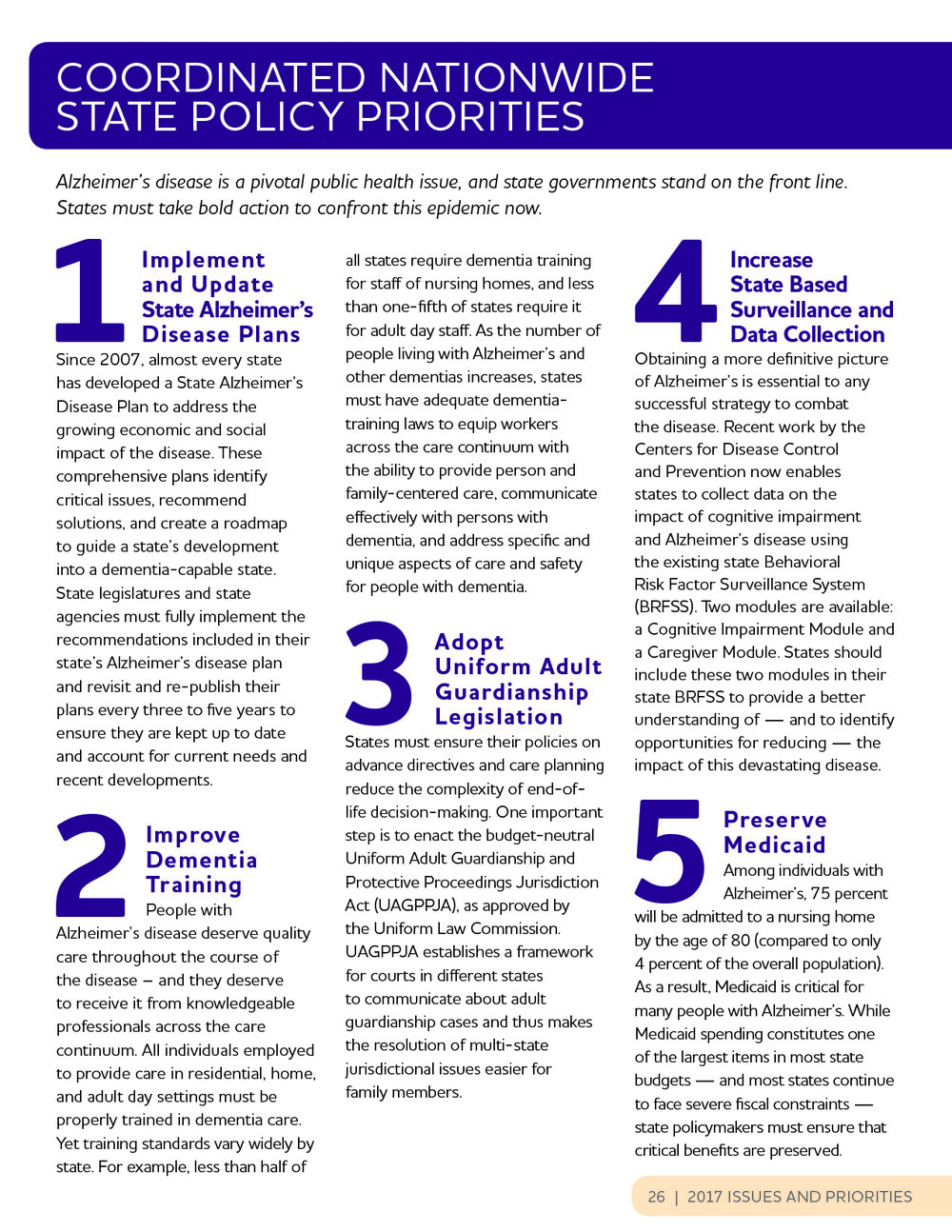 Alzheimer's Association Policy Priorities