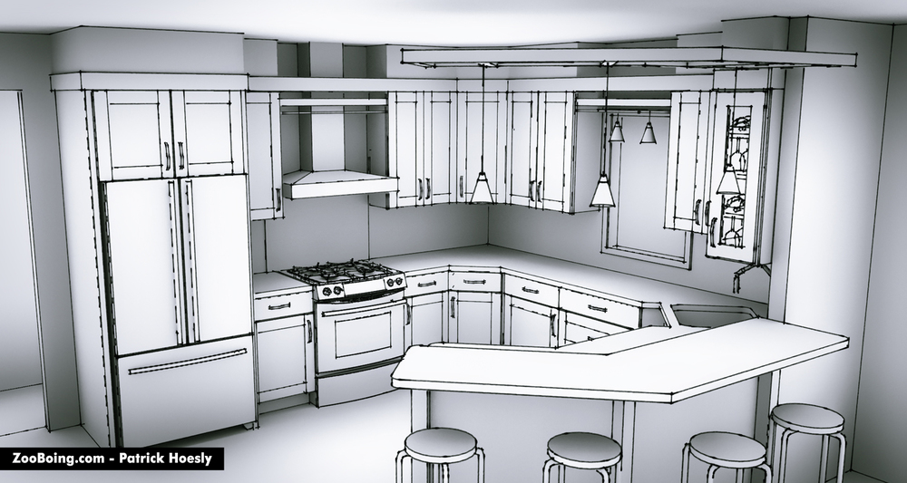 Sketchy kitchen renderings zooboing illustrations for Interior designs kitchen sketches