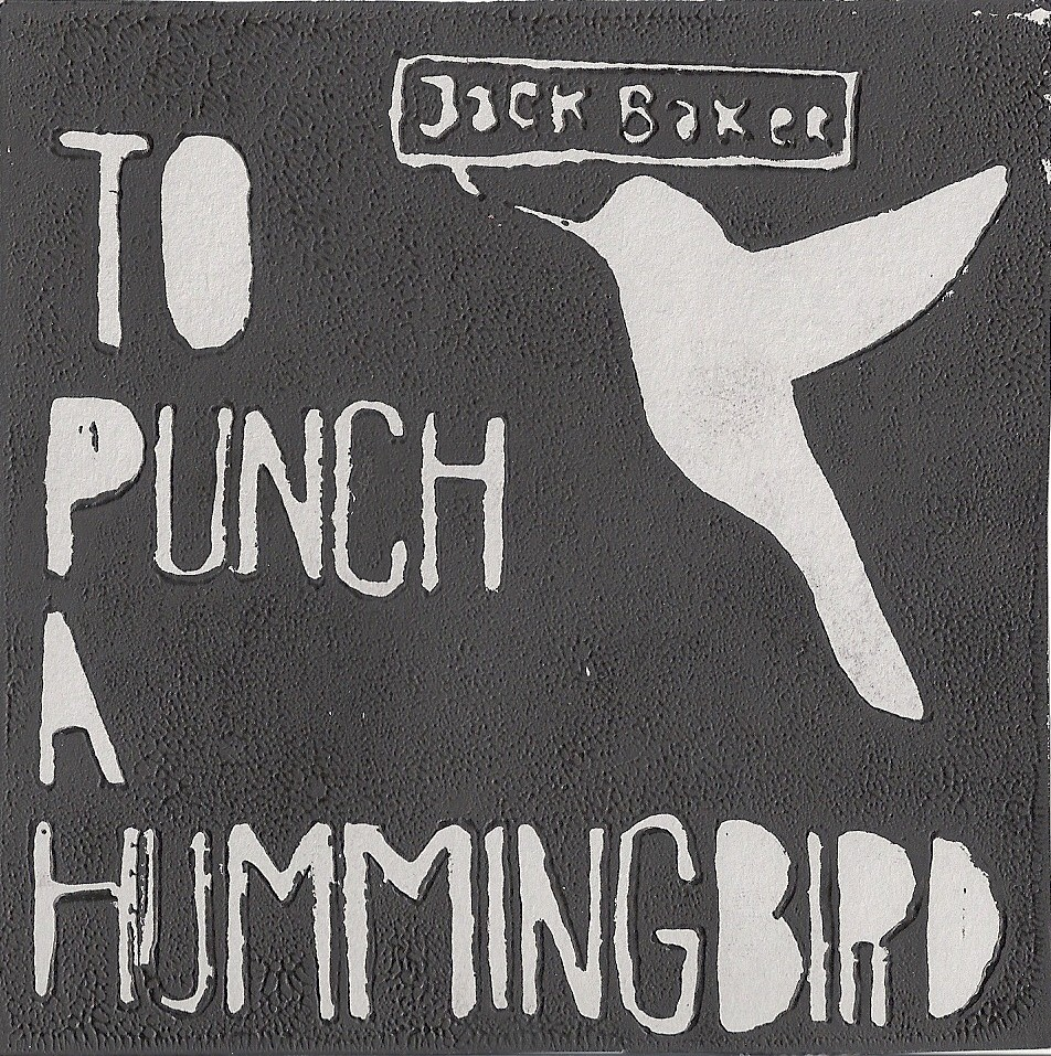 "Scanned album art for original album, ""To Punch a Hummingbird"". 100 of these prints were hand-made by Jessica Volk as the albums cover art. They ranged in colors which was pretty cool, most people have preferences if making a purchase. The funds from the sales were used to buy percussion equipment for the Phoenix (Oregon) High School percussion program. Mike Spencer's the man! Lots of good folks there."