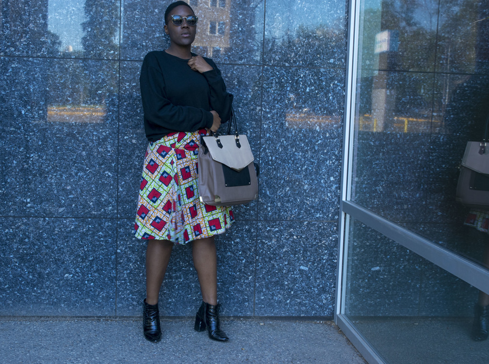 Sweatshirt - American Apparel Skirt - From Kenya Bag - Aldo Sunglasses - Raen Ankle boots - Senso