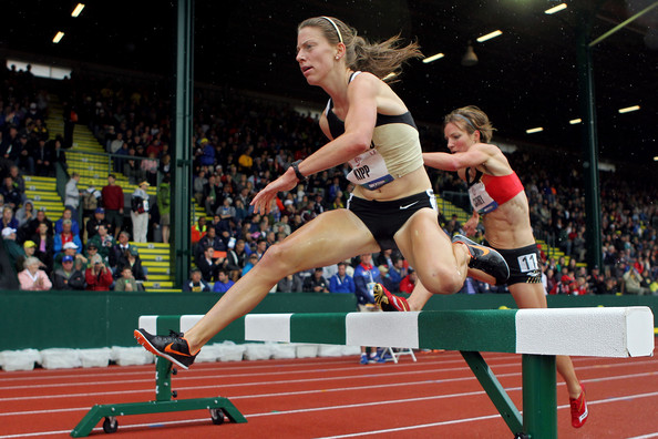 Shalaya Kipp competes in the steeple (photo by Getty)