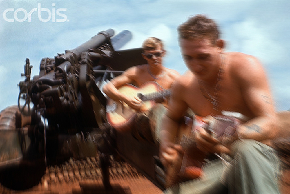 A low-res, pirated copy of a fantastic shot of two 11th Armored Cav soldiers at Loc Ninh (1969), now owned by Corbis. I have obfuscated most of the photo with editing software to avoid running afoul of Corbis.