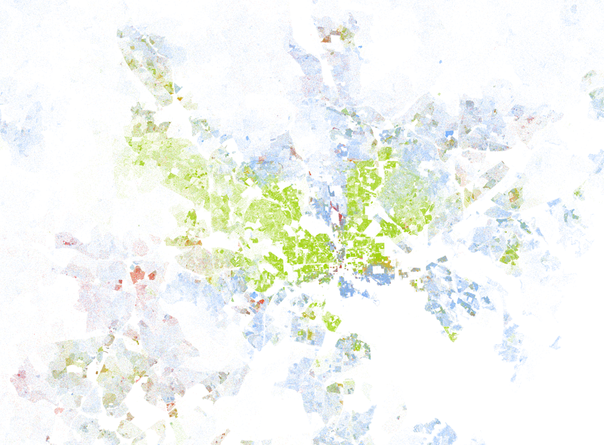 Baltimore metropolitan area, from the new map created by Dustin Cable of the University of Virginia's Weldon Cooper Center for Public Service.