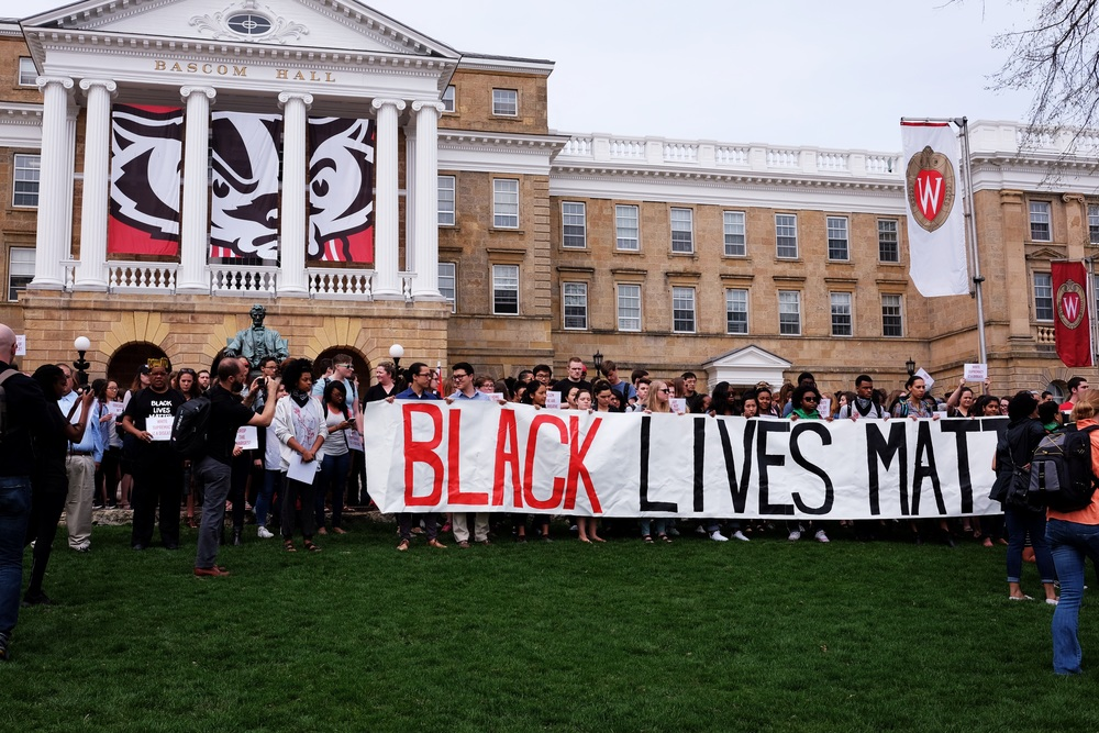 Gathering at Bascom Hall, seat of the University's administration.