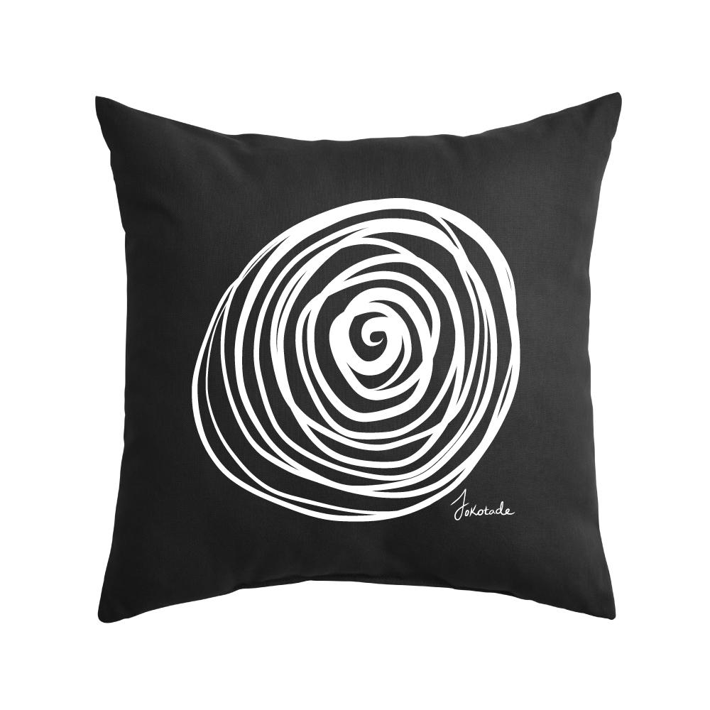 Rosella on black throw pillow