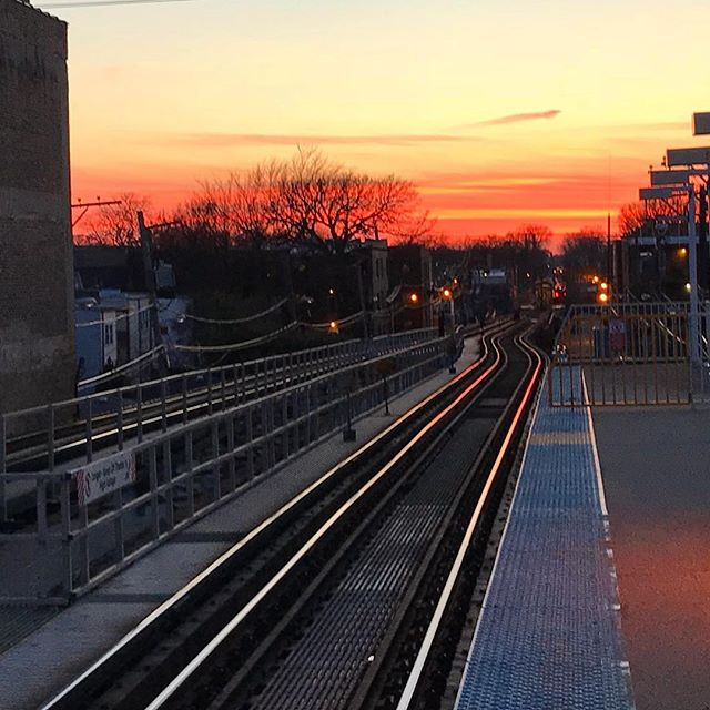 While the sky caught my eye in the moment, it's the reflection on the tracks I can stop staring at now. #springiscoming #timetodethaw