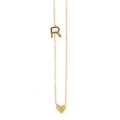 asymmetrical letter necklace wheart