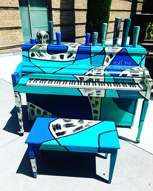 "Repurposed piano for ""Piano.Push.Play"" 2018. Ceramic and acrylic paint."
