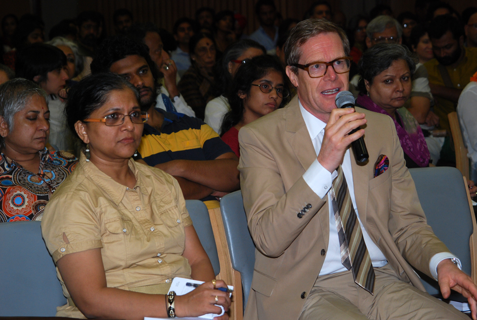 India Linus Von Castelmur, the Swiss Ambassador to India, asking a question
