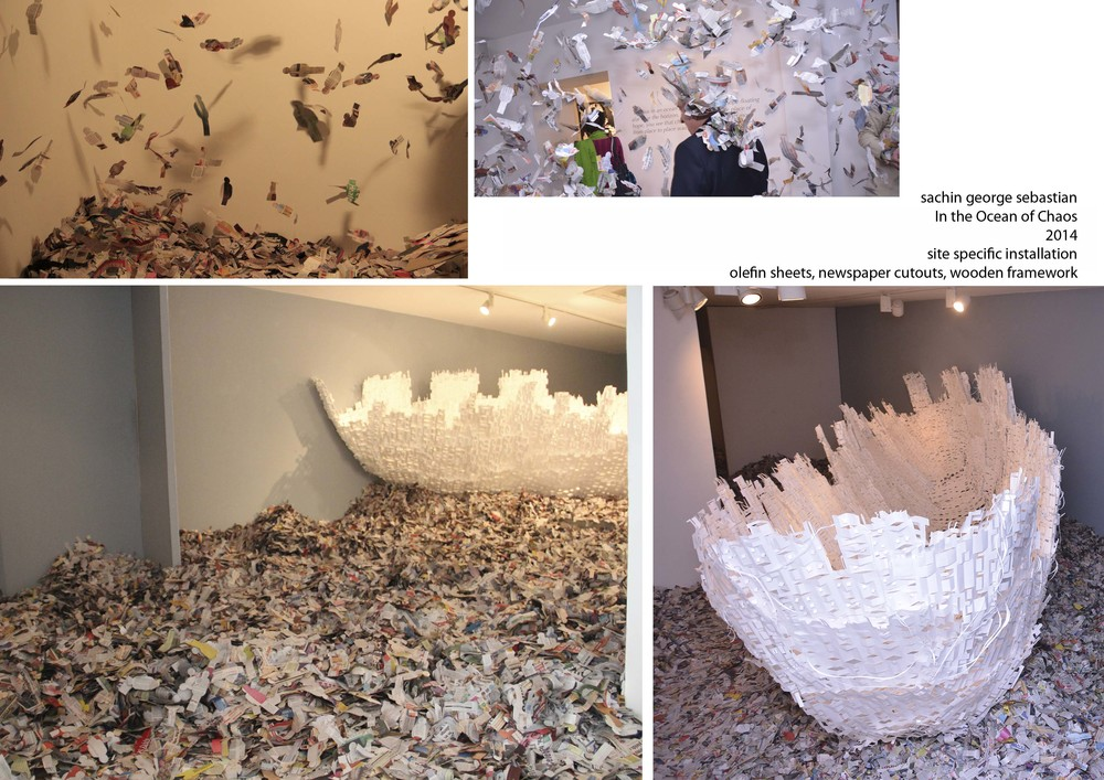 sachin george sebastian, In the Ocean of Chaos, site specific, olefin sheets and News paper, 2014.jpg