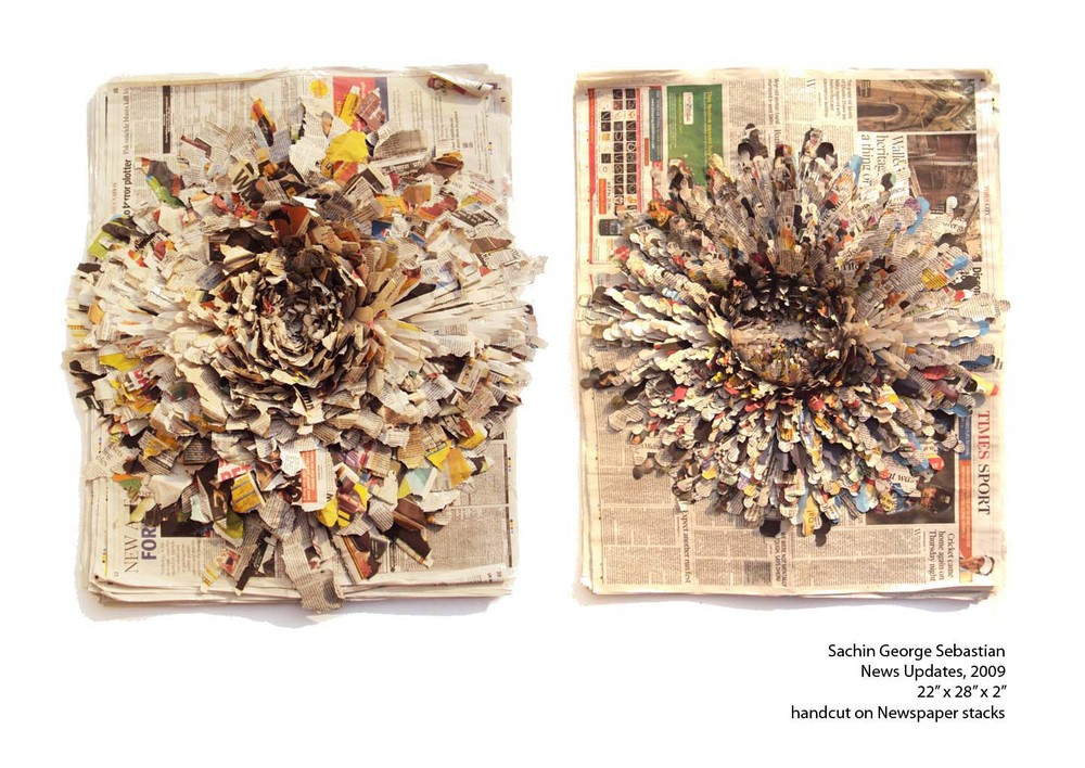 sachin george sebastian, News Updates,2009,  variable size, handcut on newspaper stacks.jpg