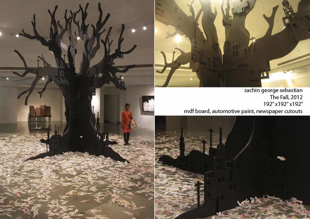 sachin george sebastian, the fall, 2012, 192x192x192 inches, mdf board, automotive paint, newspaper cutouts.jpeg