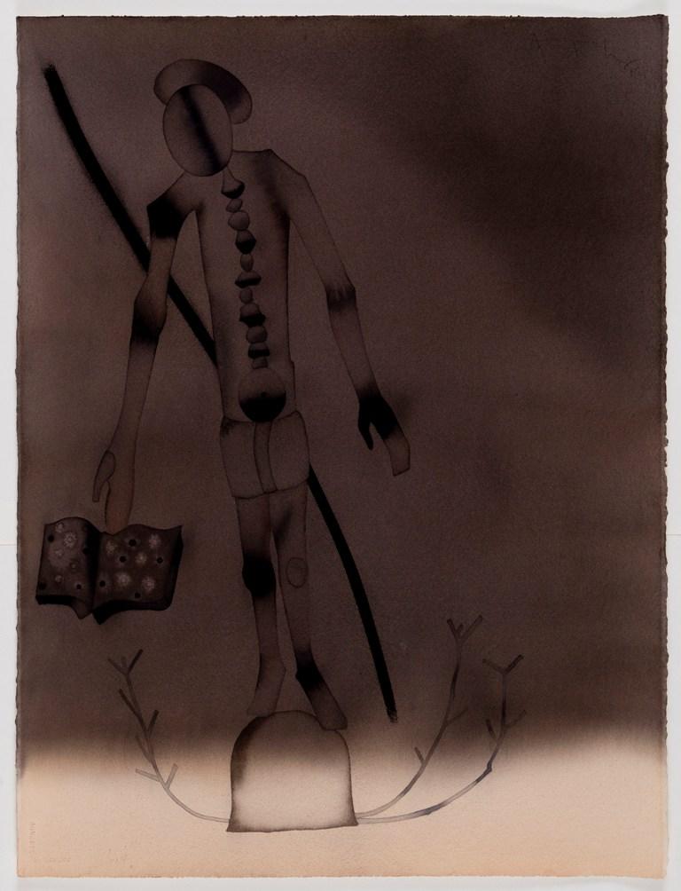 "Atul Dodiya |Blind Scribe |Watercolour on paper |30"" x 22"" |2012"