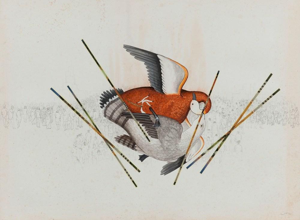 "Jagannath Panda |Untitled |W/C & collage on paper |22"" x 30"" |2012"