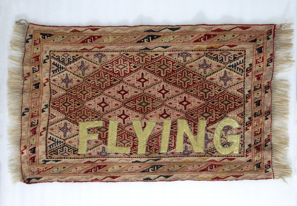 "Raqs Media Collective | Studies for a Flying Carpet | Embroidery on carpet | 37"" x 22"""