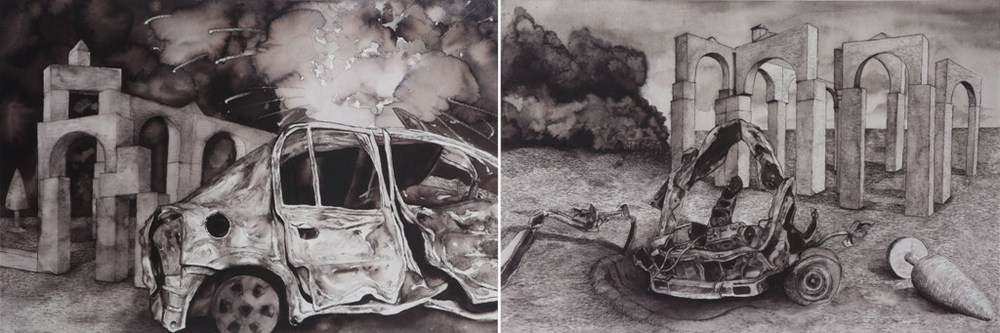 "Tushar Joag | Bombed Car – Car Bomb | Pen and ink on paper | 24"" x 35""(Each) 