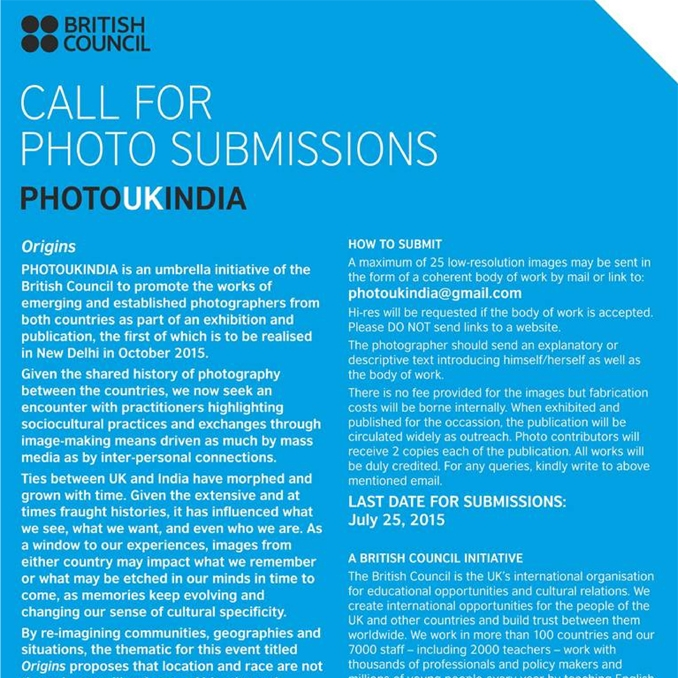 CALL for submissions | PHOTOUKINDIA | Deadline: 25 July 2015