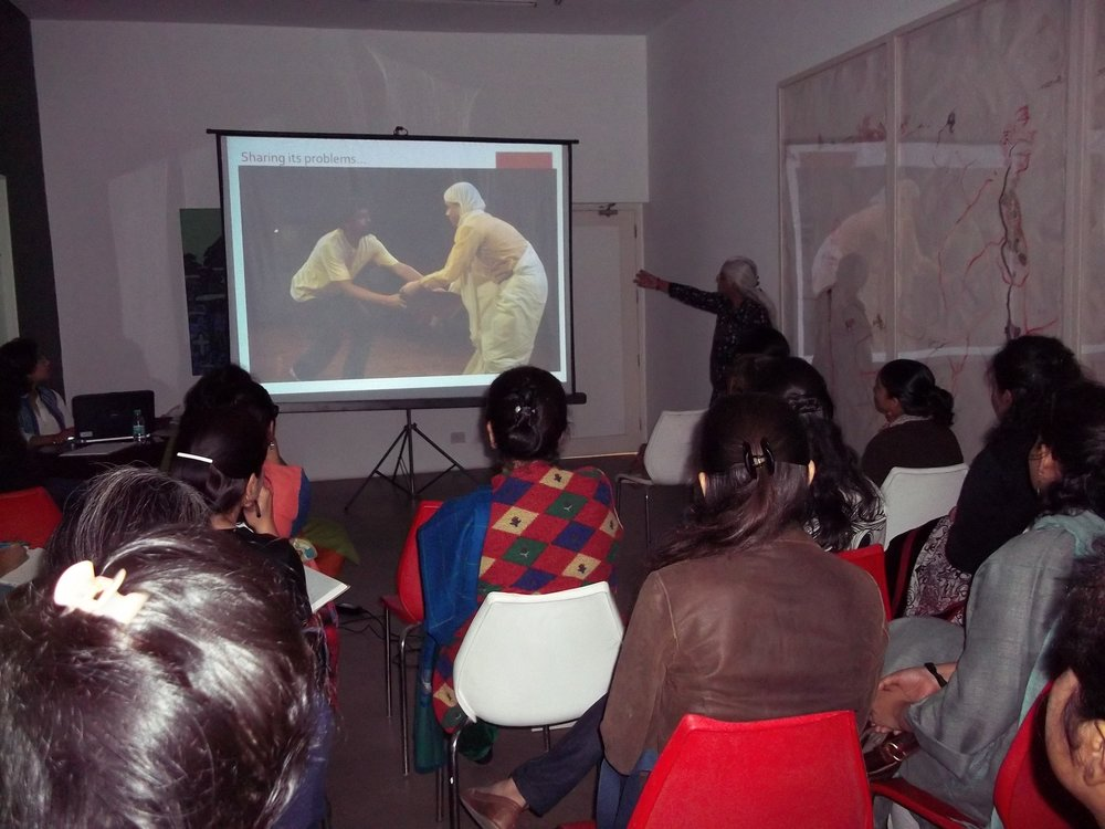 14 march 2015 maya rao presentation on the new theatre in education course TEST at SNU.JPG