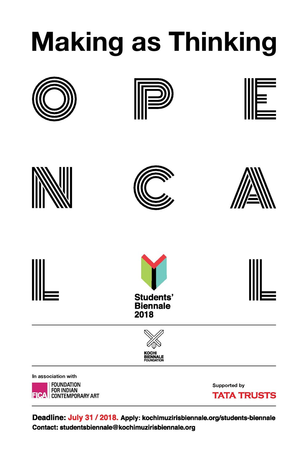 OPEN CALL FOR APPLICATIONSStudents' Biennale 2018 / Making as Thinking - DEADLINE EXTENDED TO 15 AUGUST, 2018
