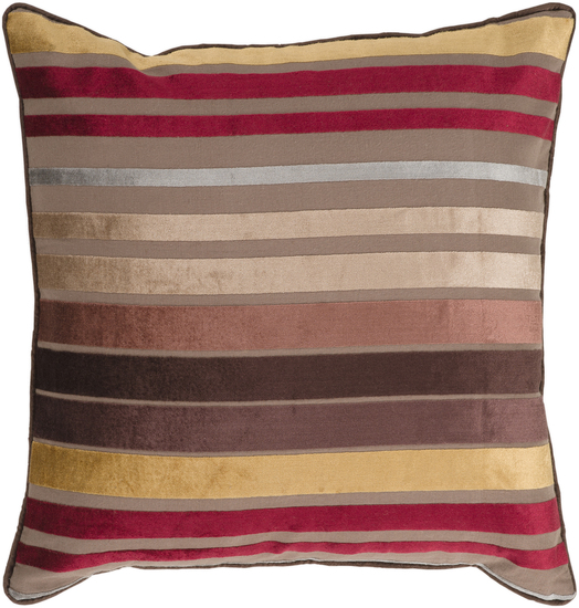 Striped Accent Pillow In Brown, Burgundy, U0026 Gold