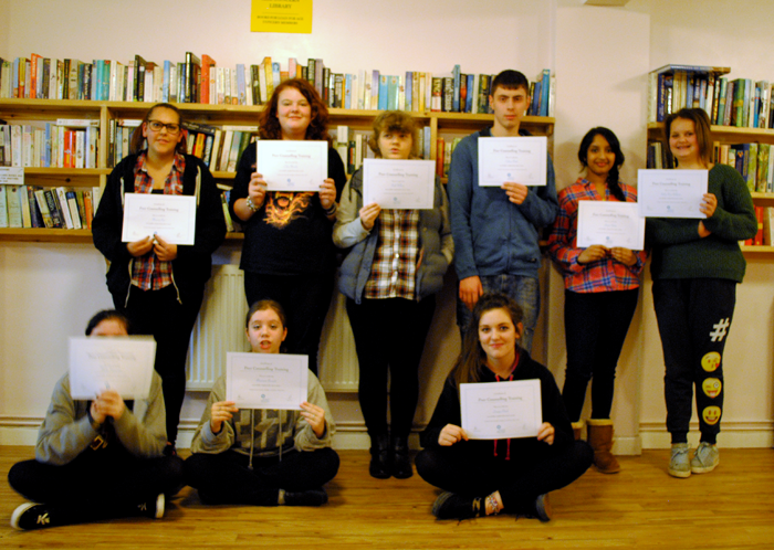 Young Carers, after eight weeks of Peer Counselling training, receive their certificates.