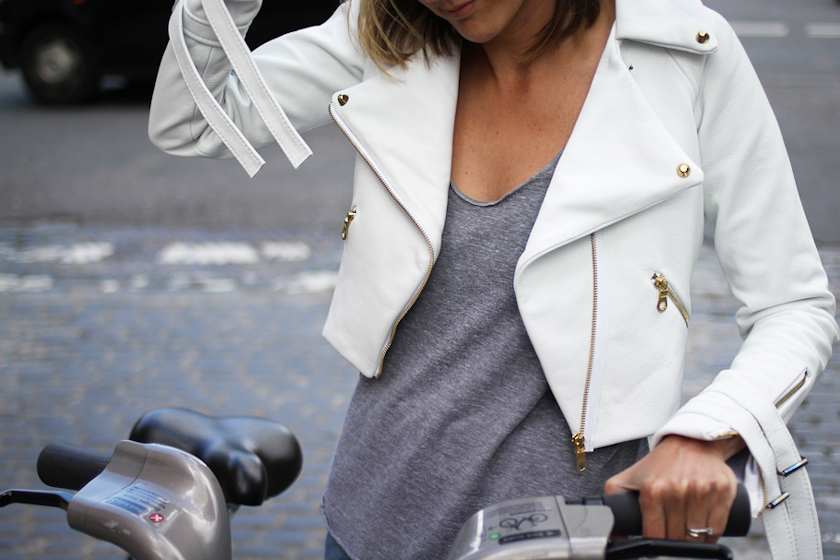 The most beautiful white leather jacket I have ever seen.