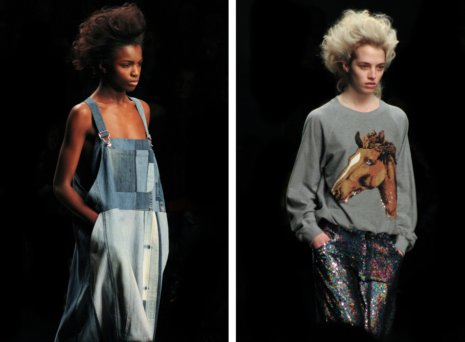 Ashish, sequins, Horse face jumper, overalls, denim, patches, grey sweatshirt