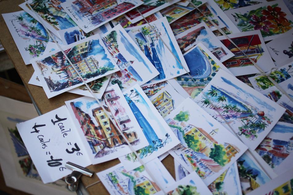 Nice, postcards, France, market