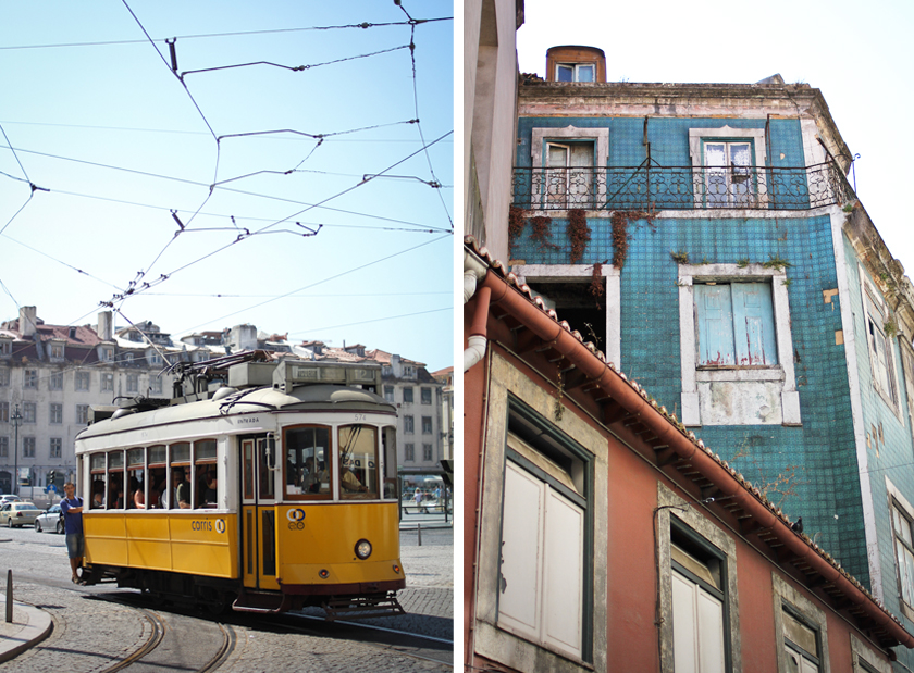Lisbon-tram-and-old-buildings