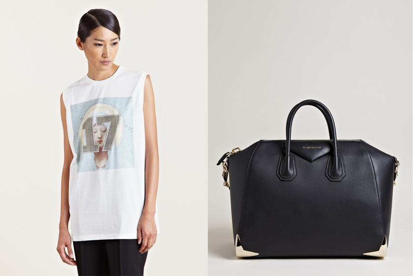 Givenchy Sleeveless Number T-shirt and Antigona Large Bag.