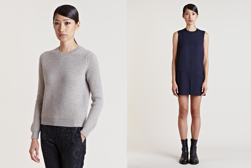 Esk Ribbed Cashmere Sweater & Jacquemus  Jane Birkin Dress.