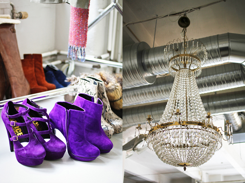 Shoes and chandelier at the eBay shoot