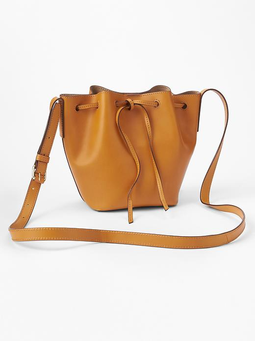 Gap leather drawstring bag