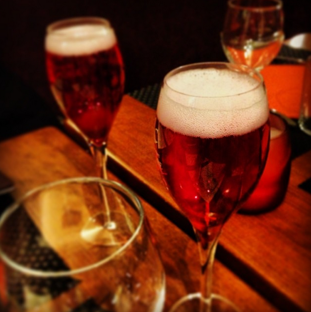 Tasty Kir Royales at dinner