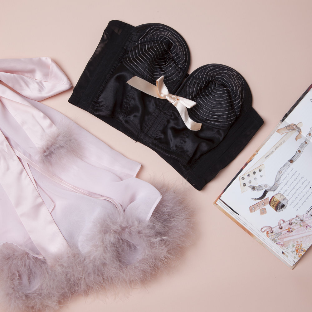 The Peach/Black Longline Overwire Bra, shown with the Faux Feather Robe