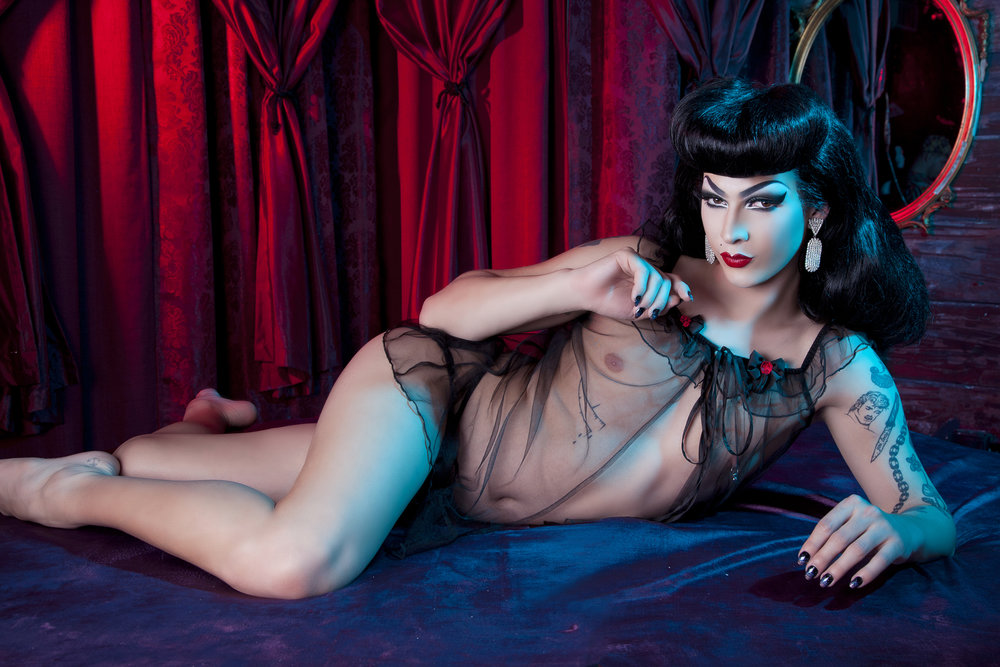 Violet Chachki  modelling for our  Bettie Page Lingerie  line