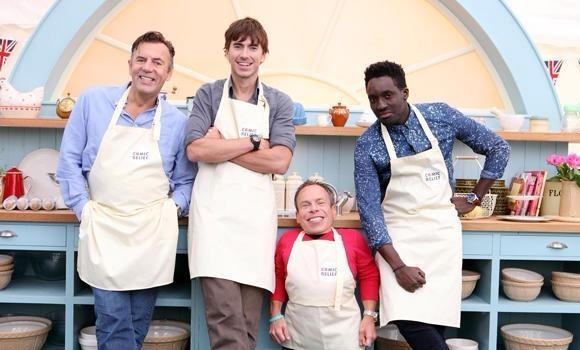 Andy on Great British Bake Off, with Warwick Davies, Duncan Bannatyne and Simon Reeve