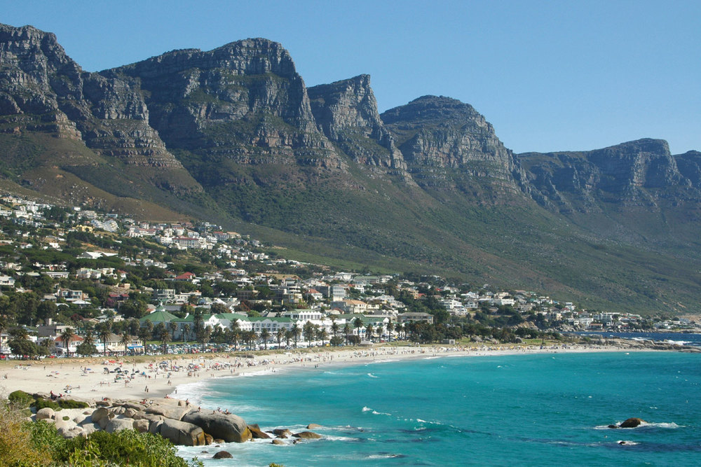 Camps Bay beach with the Twelve Apostles in the background