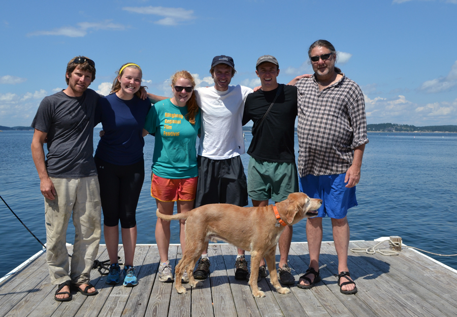 2013 Island Staff, L-R Sam Hallowell, Lizzie Morris, Alice Anderson, Addison Godine, Carson Cornbooks, Jim Mccormack, and Rusty the dog, Not Pictured- Oakley Jackson, Emily Peckham