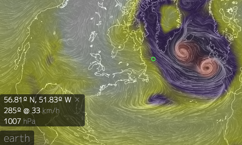 This is a  Stereographic projection  of the wind at the surface and the mean sea level pressure.