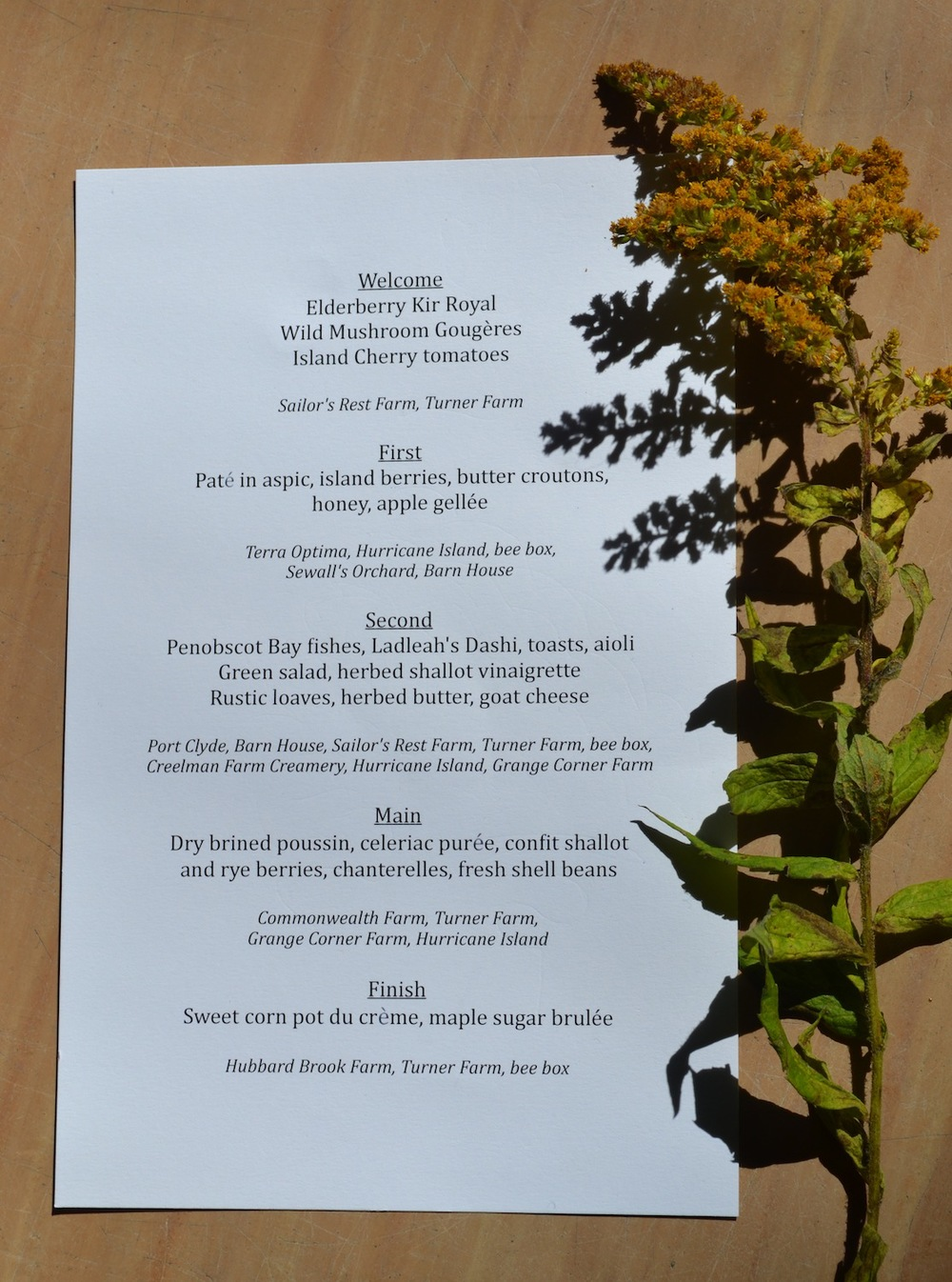 The menu from the evening