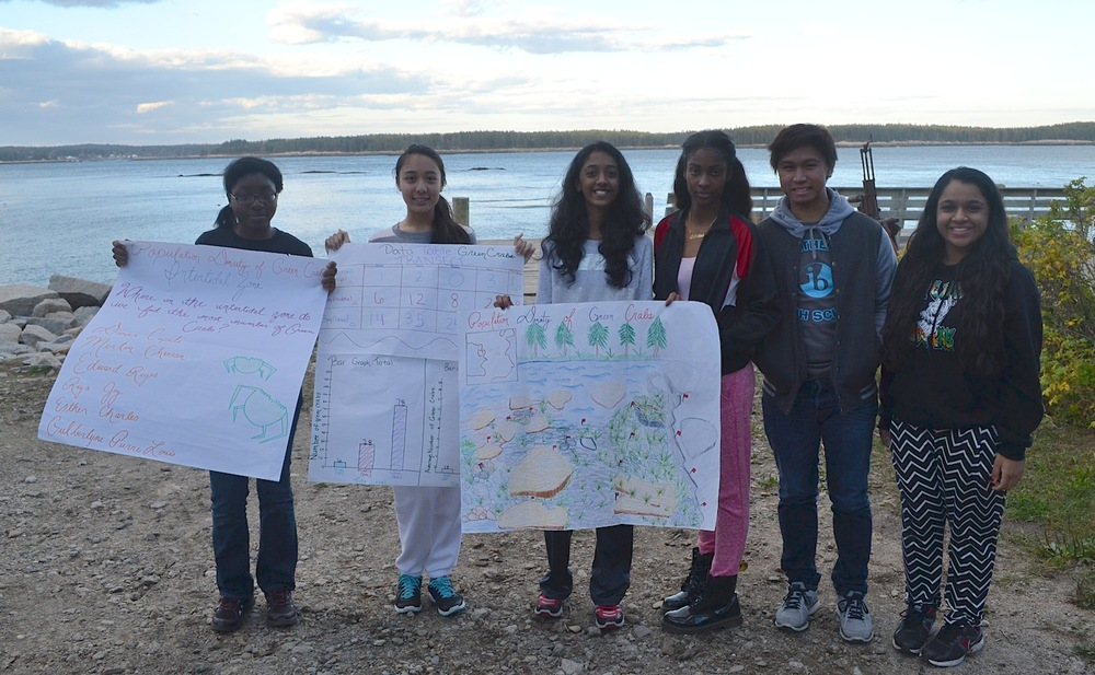 Group 1 with their presentation visuals: students showed their results clearly in a bar graph, and also generated a great visual of their sampling site.