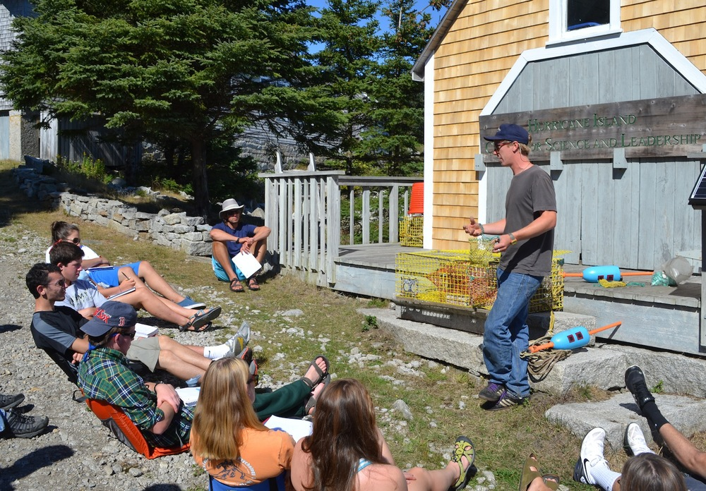 HIF instructor Oakley explains how lobster traps work, and the culture of the lobster industry